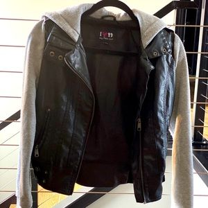 Faux Leather Sweatshirt Jacket